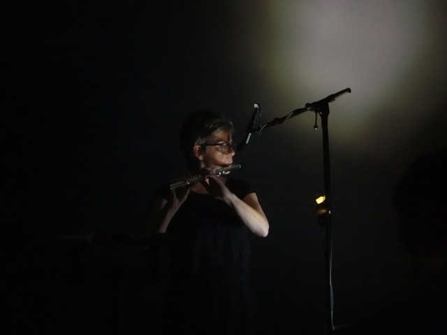"""Anne La Berge performing the premiere of """"hyperboles are the worst thing ever"""" in Amsterdam on 15/6/14."""